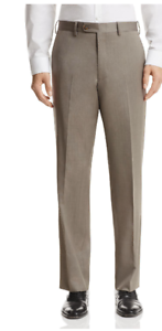 Bloomingdales Classic Fit Flat Front Wool Dress Pants Size 34R (waist), TAUPE