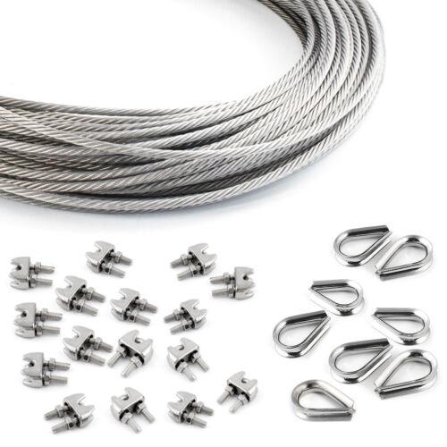 Seil /& Zubehör Edelstahl Inox 7x7 7x19 Stahlseile 2-5mm Drahtseilklemmen