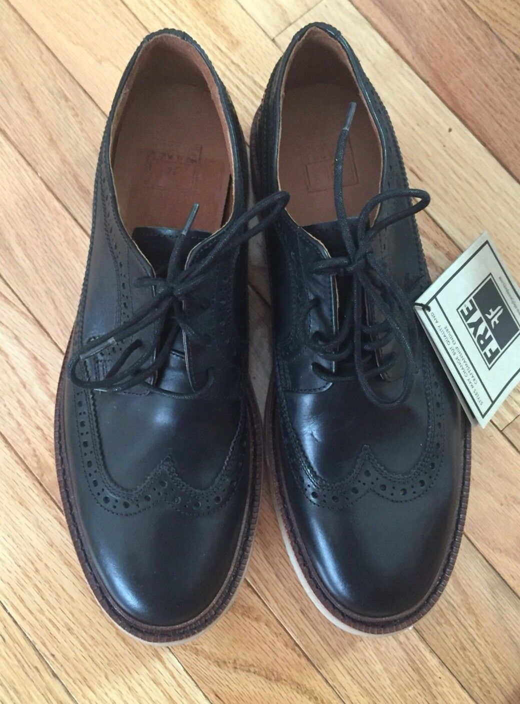 FRYE Luke Wingtip Black Vintage Vegtable Tan Leather Size 10 D Medium