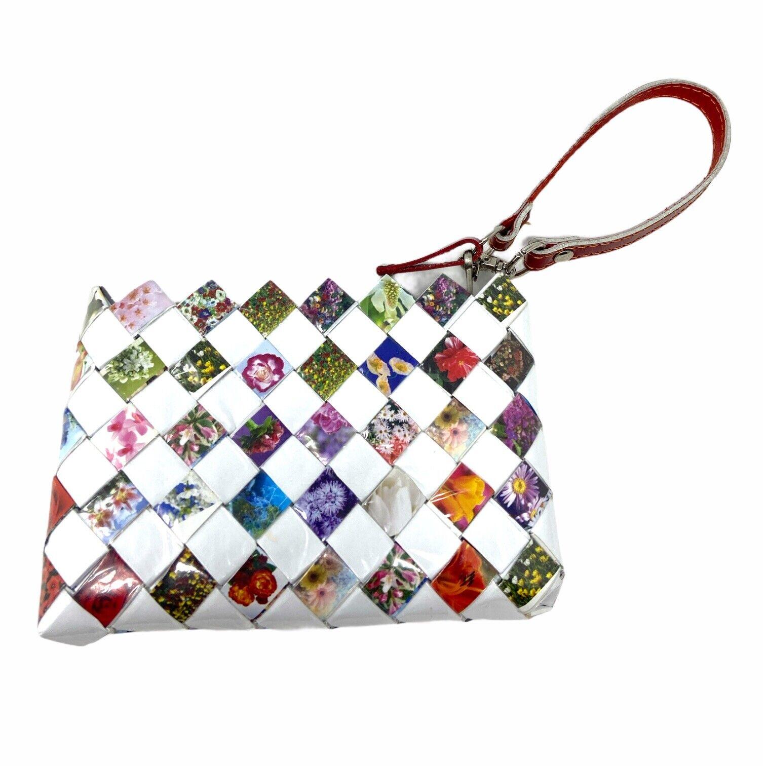 Nahui Ollin Small Multi Color Floral Wrapper Wristlet Zipper Purse