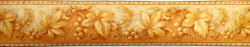 DECOR STYLE 13.5cm x 5m Self Adhesive Wallpaper BORDER Orange GRAPE VINE Raisin