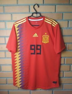 new product 8ec58 9c707 Details about Spain #99 2018 football shirt Home Climachill Authentic  jersey size L Adidas