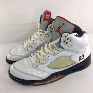 821e7a398dcf28 AIR JORDAN V 5 RETRO Shoes Men Sz 12 INDEPENDENCE DAY WHITE RED NAVY ...
