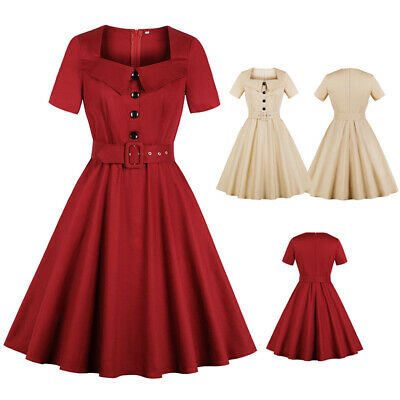 Plus Size 1940s 50s Rockabilly Vintage Style Retro Womens Party Swing Belt  Dress | eBay