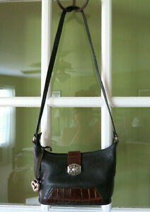 Brighton-Navy-Blue-amp-Brown-Shoulder-Bag-with-silver-trim-amp-Heart-Charm