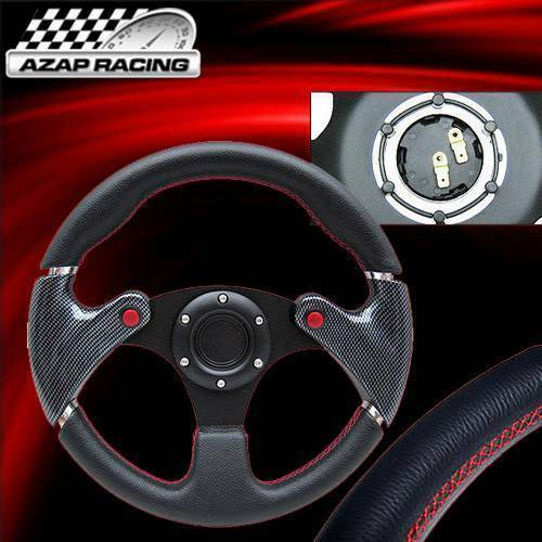 """Universal 320MM 12.6/"""" Black PVC Leather Race Steering Wheel With Red Stitch"""