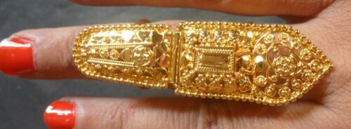 Indian Gold Plated Party Traditional Golden Adjustable Finger Ring Set