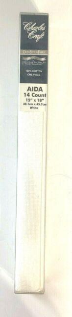 Charles Craft 14 Count Aida 15x18 Cross Stitch Fabric White