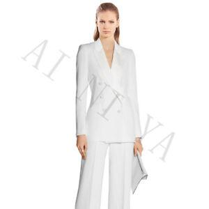 Traje Formal Blanco Para Mujer Pantalones Elegantes Senoras Trajes De 2 Piezas De Trabajo De Oficina Negocios Ebay