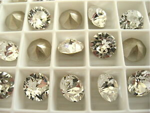 12-Clear-Crystal-Foiled-Swarovski-Crystal-Chaton-Stone-1088-39ss-8mm-Chatons