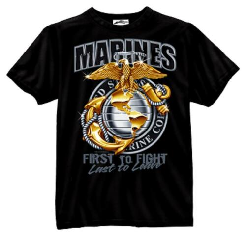 US Marine Corps T-Shirt USMC EG/&A First To Fight Last to Leave BLACK S-2X