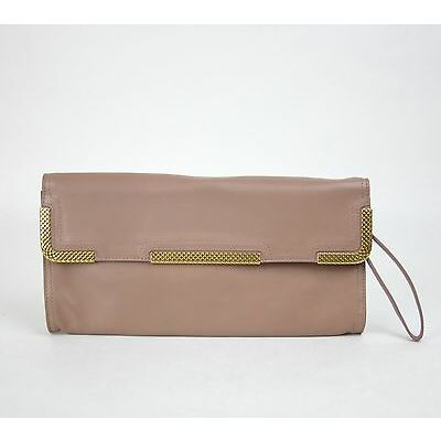 New BOTTEGA VENETA Leather Wristlet Clutch Bag Gold Detail Mauve 325241 6322 78080ecc98d86