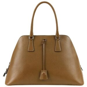 89e8712c4e35 Image is loading PRADA-Olive-Brown-Leather-Structured-Top-Handle-Trapezoid-
