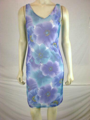 Assa Womens Sleeveless Blue Floral sun dress Knee Length size small fits 2 4