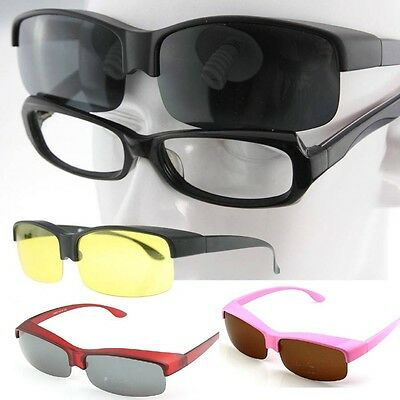 NIGHT VISION wrap around Polarized Sunglasses Goggles fit over eyeglass MB3009B