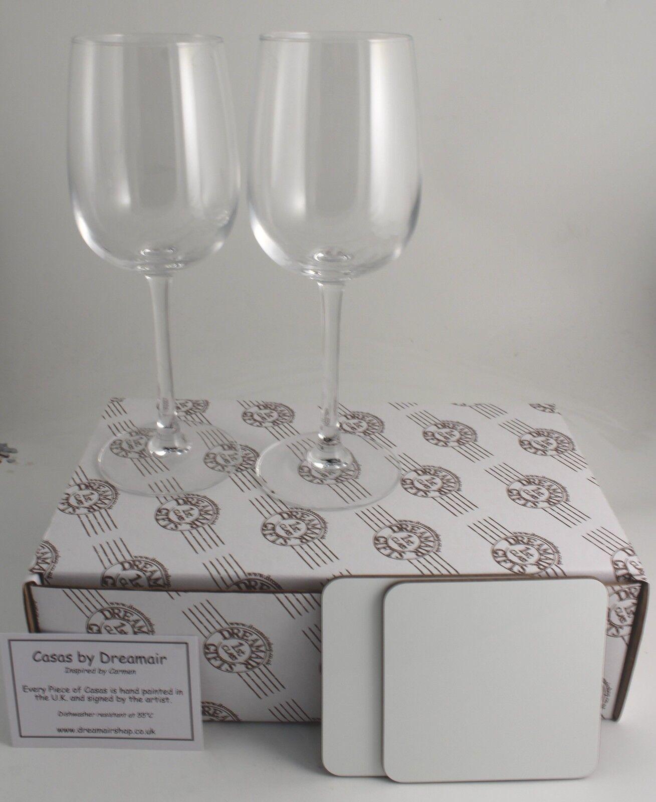 35th Aniversario Bodas Copa de vino y CORAL Coaster Set de regalo CORAL y ANIVERSARIO 32f66c