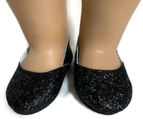 Black Rainbow Sparkle Princess Shoes for 18 inch American Girl Doll Clothes