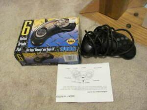 OFFICIAL Sega Genesis 6 Button Arcade Pad Controller WORKS COMPLETE Original Box