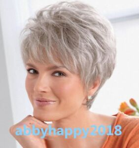 Women-ladies-Wig-Short-Straight-Silver-Grey-Classic-Synthetic-Hair-Wigs