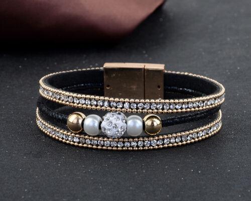 Perles Pendentifs Magnétique Bracelet Cuir Synthétique Bracelet à Enrouler Bracelet avec Strass 1stk