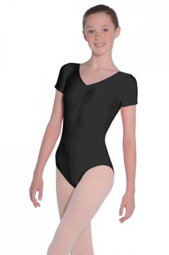 Roch Valley Short Sleeved Leotard Jeanette Nylon Lycra Black Dance Gymnastics