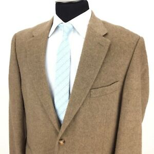 STAFFORD-Executive-Mens-44R-Solid-Brown-2-Button-Camelhair-Sport-Coat-Jacket