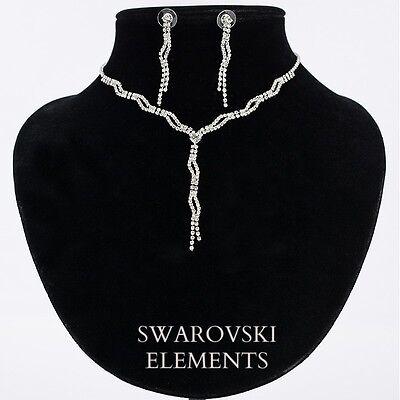 Parure mariage collier boucles d'oreilles strass swarovski Eléments  torsadée   eBay