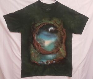 dc29d51c356 The Mountain Moon Tree Adult Size Large T-Shirt Tie Dye Green
