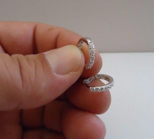925 STERLING SILVER HUGGIE// HOOP EARRINGS W// .75 CT LAB DIAMONDS// 14MM DIAMETER