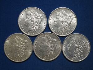 1878-1904-Morgan-Silver-Dollars-XF-AU-Pre-1921-Mix-Dates-Lot-of-5-Coins
