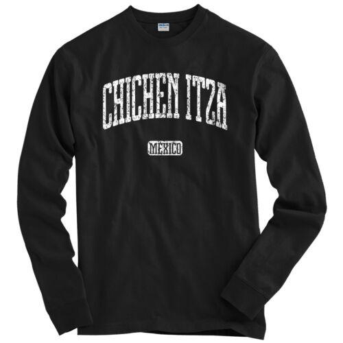 Men Chichen Itza Mexico Long Sleeve T-shirt LS Youth Maya Mayan Yucatan MX