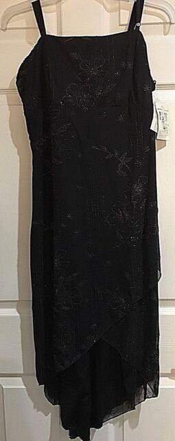 91b7e77dde9 Jodi Kristopher Black Sparkle   Beading High Low Dress Juniors Sz 1x ...