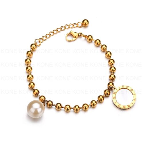 Damen Edelstahl Armband Arm Schmuck Kugel Gold Perlmutt Perle Amulett
