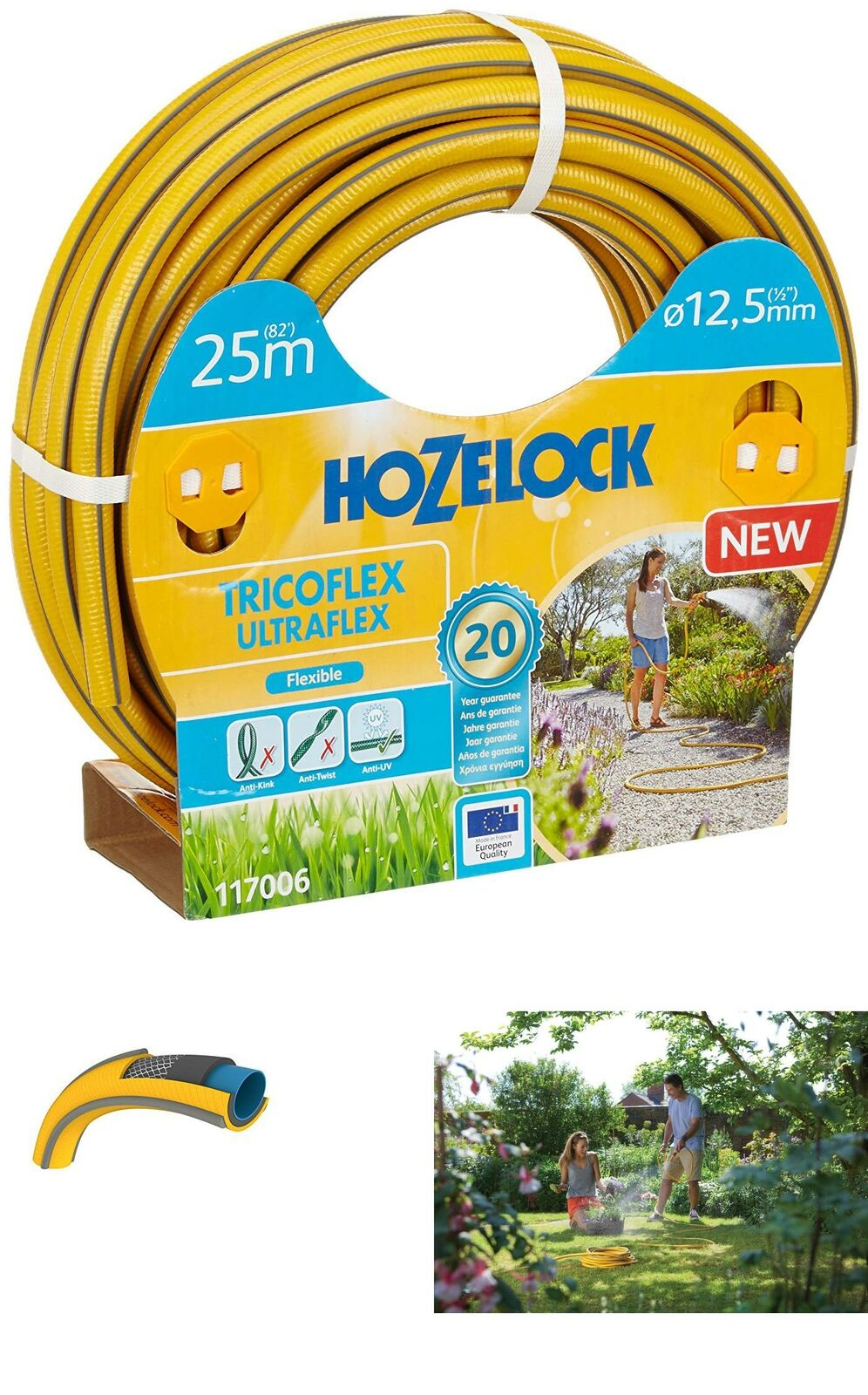HOZELOCK Tricoflex Ultraflex Tubo flessibile, Giallo, 12.5 mm x 25 M