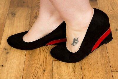 Collectif Lulu Hun Negro y Rojo Gilda Cuña Zapatos Talla 8 Rockabilly Pin-Up