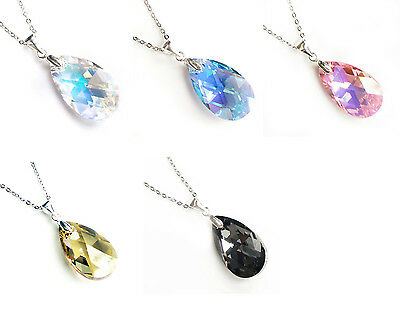 925 Sterling Silver Chain Necklace Teardrop Crystal Made with Swarovski Elements