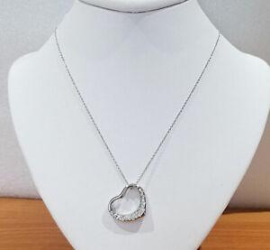 f4a436dcc11d4 Details about Tiffany & Co. Elsa Peretti Open Heart Diamond Platinum  Pendant Necklace Medium