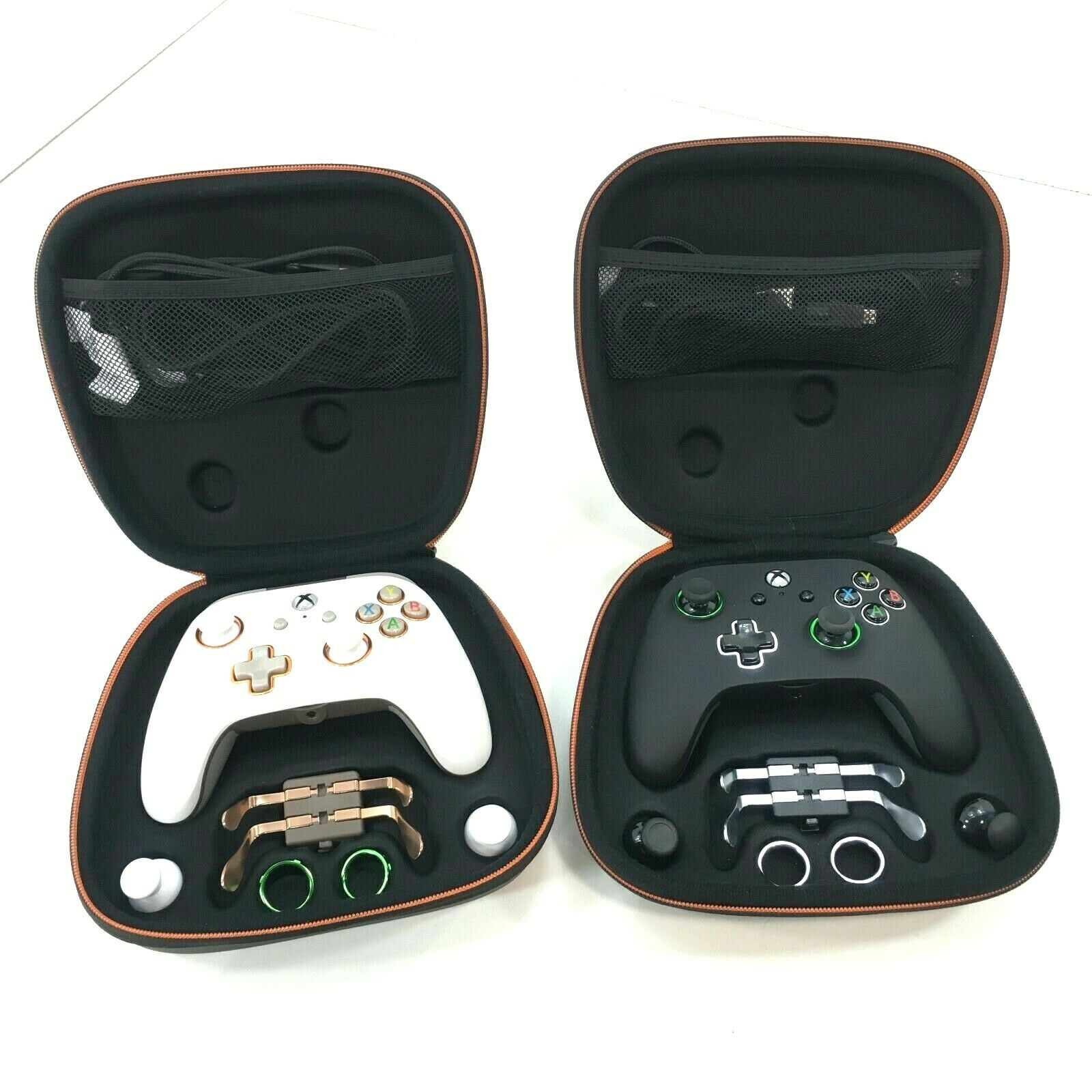 (2) Power A Fusion Pro White & Black Wired Controllers for Xbox One S X w/ Cases