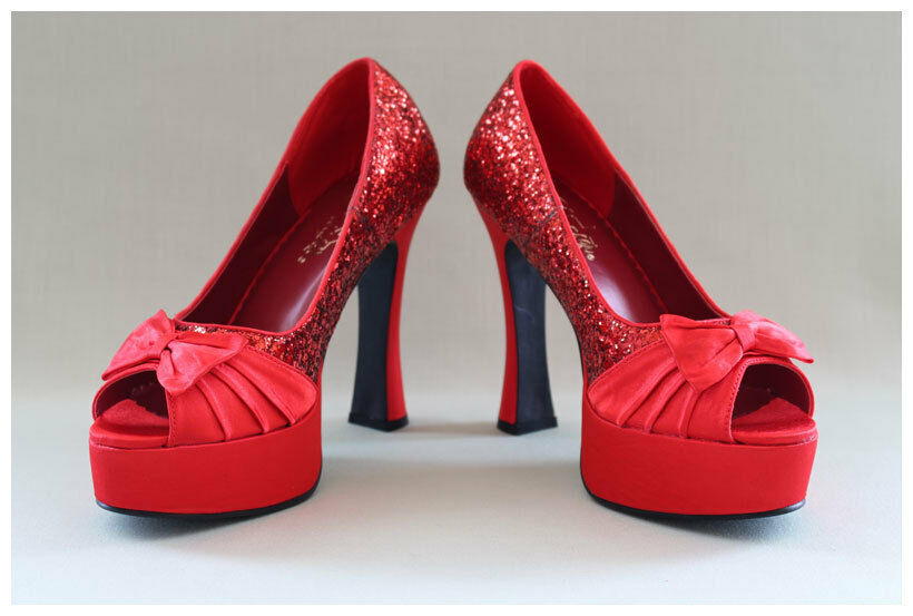 Pleaser Pumps Gr. 38 / US8 Peep Toes Plateaupumps rot Satin + Glitter (#2121)