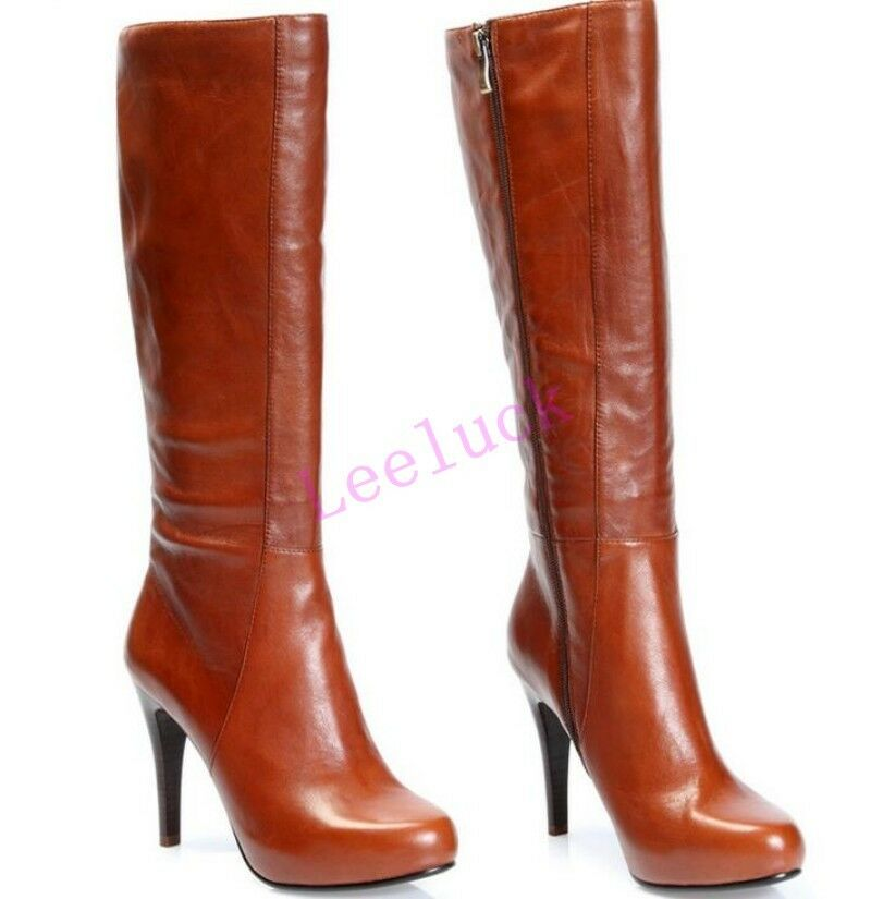 New Womens Leather Side Zip High Stilettos Heels Knee High Riding Boots Shoes