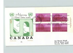 """2 FDCs, CANADA, """"25th Anniversary as a United Nations Member, Plate Block, FDC"""
