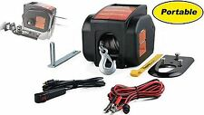 New 2000 LB Portable Electric Winch, 12 Volt, Remote, Truck Boat Trailer ATV Tow