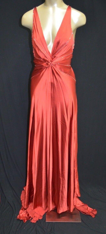 BCBG Colección Max Azria Atelier  roja seda vestido adornado Cola Larga Talla 4  moda