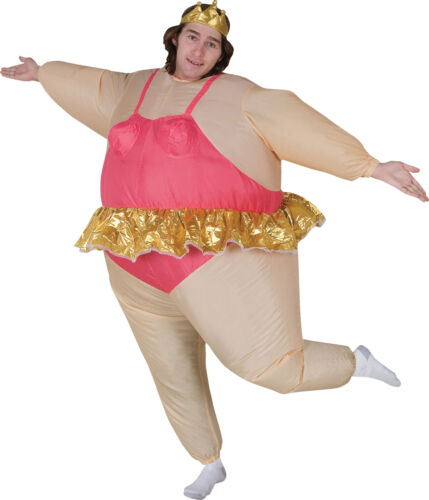 Ballerina Funny Illusion Adult Inflatable Costume Tutu And Crown Halloween Gemmy