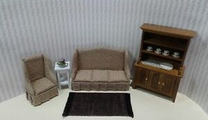 cool 12 scale dollhouse living room set | Dollhouse Miniature 4 pc Print Living Room set with rug ...