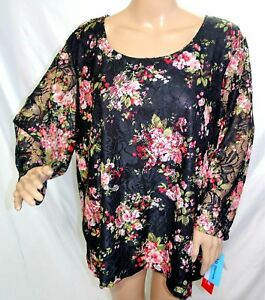 Brittany Black Women Plus Size 3x Lined Floral Coral White Mesh Tunic Top Blouse