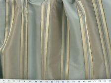 "Drapery Upholstery Fabric 110"" W Yarn Dyed Faux Silk Stripe - Powder Blue/Green"