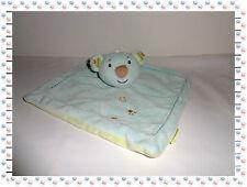 P/R - Doudou Semi Plat Carré  Ours Koala  Bleu Vert Infiniment Zen Système U