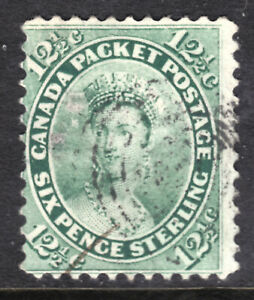 CANADA-18a-12-c-GREEN-1859-FIRST-CENTS-ISSUE-PERF11-VG-USED