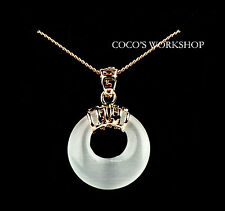 ROSE GOLD PLATED CAT EYE ROUND HOOP PENDANT NECKLACE GIFT FASHION JEWELLERY GIFT
